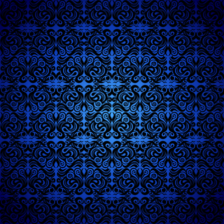 Seamless background baroque, Damascus style black color ornament, blue background. Neoclassic elements decoration. Vintage luxury vector pattern. Retro Victorian. Wallpaper, print packaging, textiles. 向量圖像