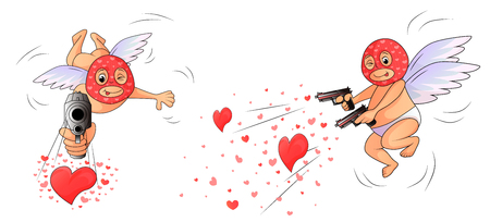 Amurs - killers aims at frame and at lovers. On the Cupids wearing a balaclava masks. Angel has in hands two guns firing hearts instead of bullets. Side view amd front.   Isolated on white background. 일러스트