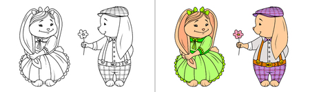 Hare boy confesses his love, gives flower, rabbit girl hesitates, shy. Bunny shyly holds his long ear in her hand and smiles. Girl in poofy green dress. Kids' coloring, contour drawing and colorized.