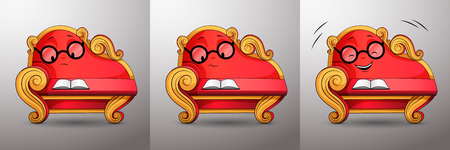 Living cartoon character. Smart red classic sofa, with golden curved handles and eyes, reads book. Funny cute couch with glasses propped up his face at his hand, various emotions while reading. Vector