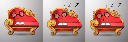 Living cartoon character. Smart red classic sofa, with golden curved handles and eyes, reads book, smiling. Funny cute couch with glasses propped up his face at his hand, asleep while reading. Vector.