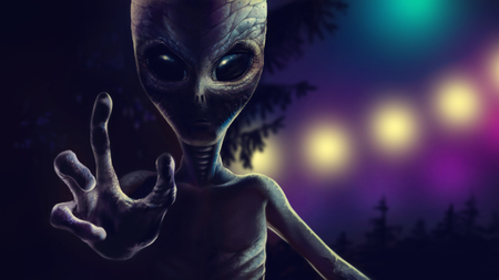 Scary alien is reaching out hand with four fingers to grab you. At night reptiloid on background of trees and lights from spaceship. Realistic portrait martian with dramatic lighting. 2d illustration. 스톡 콘텐츠