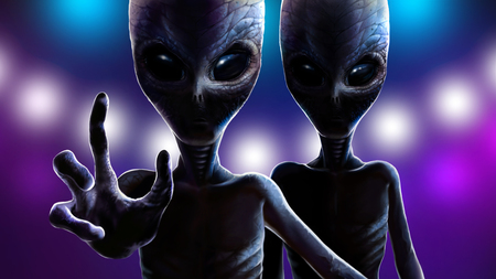 Two aliens with big eyes. At night martian reaching out hand with four fingers to grab you on background of lights from spaceship. Realistic portrait reptiloids with dramatic lighting. 2d illustration