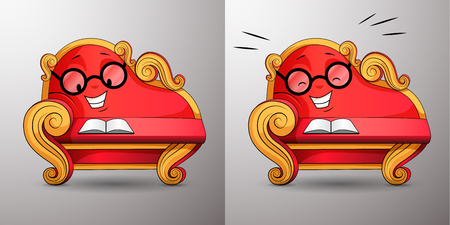 Living cartoon character. Smart red classic sofa, with golden curved handles and eyes, reads book. Funny cute couch with glasses propped up his face at his hand. Settee laughs reading the book. Vector