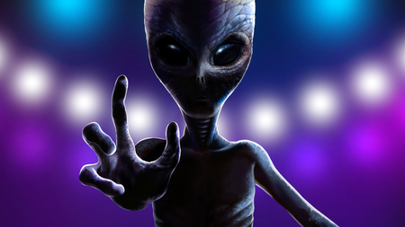 One alien with big eyes. Martian reaching out hand with four fingers to grab you. Background of lights from spaceship at night. Realistic portrait reptiloid, dramatic lighting. 2d digital illustration 스톡 콘텐츠