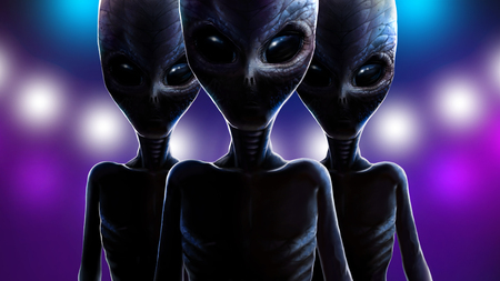 Three frightening aliens with big eyes and scaly reptilians skin. At night martians on background of lights from spaceship. Realistic portrait monsters, dramatic lighting. 2d illustration, digital art