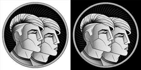 Gemini zodiac sign, monochrome horoscope symbol. Pixel style astrological icon. Stylized black white graphic portrait twins, young guys from future with stylish modern hairstyle undercut hair. Vector.
