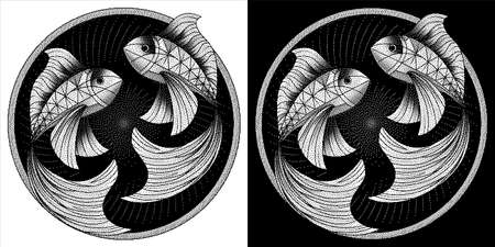 Pisces zodiac sign, astrological, horoscope symbol. Pixel monochrome style icon. Stylized graphic black white two fish swimming in a circle. Body decorated with geometric pattern. Vector illustration.