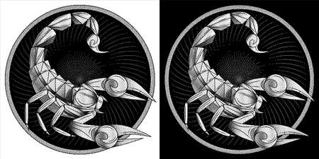 Scorpio zodiac sign, astrological, horoscope symbol. Pixel monochrome icon style. Stylized graphic black white scorpion, raised up sting, pincers, ready to attack. Portrait scorpio in circle. Vector.