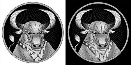 Taurus zodiac sign, astrological horoscope symbol. Pixel monochrome icon style. Stylized graphic black white portrait of stately ox. Proud bull, big twisted horns. Powerful mule look to side. Vector.