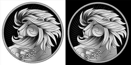 Leo zodiac sign, astrological horoscope symbol. Black white lion with mane. Pixel monochrome icon style. Head in profile, looking away. Raised Up Paw with sharp claws. Portrait lion at circle. Vector. 일러스트