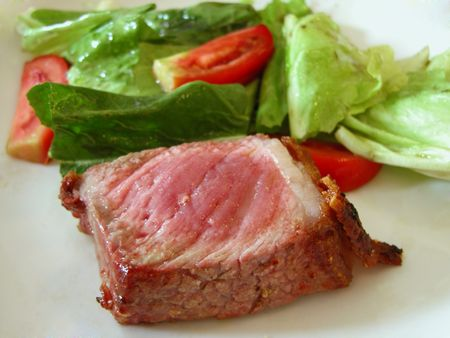 plateful: Bbq Beef Steak With Green Salad and Tomato Slices