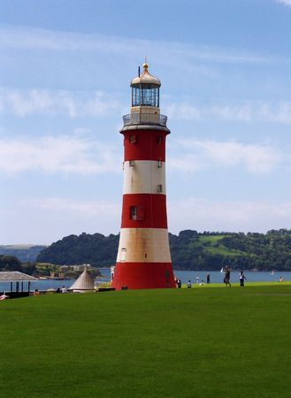 hoe: Smeatons Tower Lighthouse at Plymouth Hoe, England