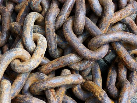 Close-Up Of A Rusty Old Iron Chain