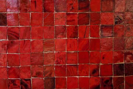 mosaic floor: Red Murano Glass Tiles Pattern