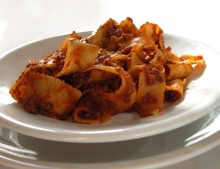 Dish of Italian Pappardelle Ribbon Pasta with Meat Sauce
