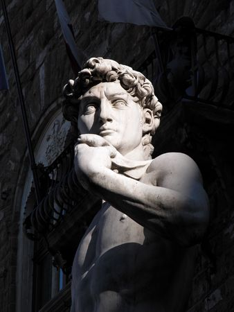 david and goliath: David Statue by Michelangelo Buonarroti in Piazza della Signoria in Florence, Italy