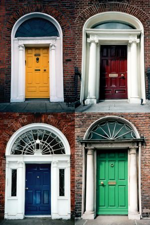 A composite of four traditional Edwardian brightly painted doors in a residential area of the city of Dublin in Ireland