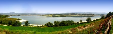 appennino: Panoramic view of the Bilancino artificial lake north of Florence in Tuscany Italy Stock Photo