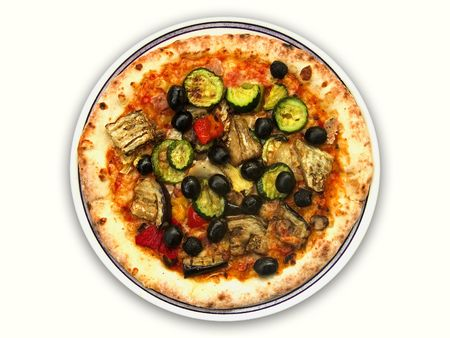 Top view of whole vegetarian pizza hot from the oven against a white background Stock Photo
