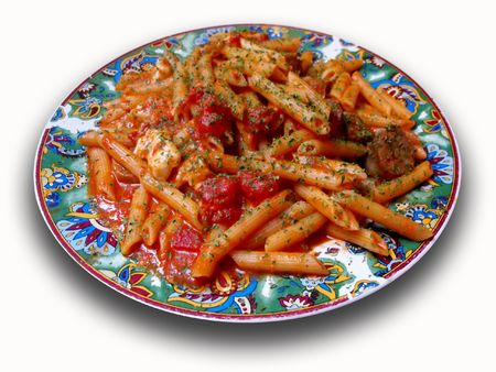 Dish of pasta with cheese and tomato sauce, isolated on white