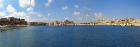 Panoramic view of the Grand Harbour in Malta