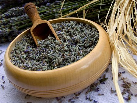 Lavender in wooden bowl. Photo taken at lavander farm in Provence, southern France Stock Photo - 7138505