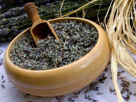 lavander: Lavender in wooden bowl. Photo taken at lavander farm in Provence, southern France