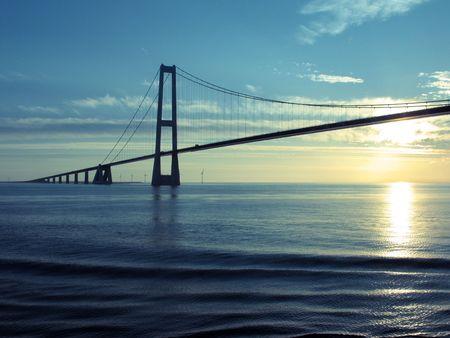 Denmark: Great Belt Suspension Bridge at sunset Stock Photo - 7374090