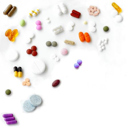 pharma: Pills mix - Top left corner composition isolated on white Stock Photo