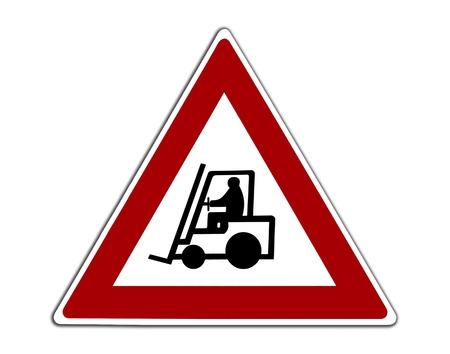 Caution Forklift Trucks Warehouse Sign photo