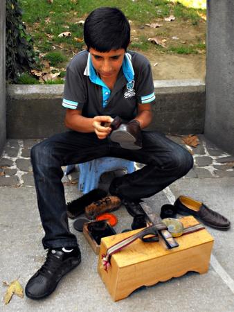 Shoe Shine Boy in Bursa, Turkey, September 2011