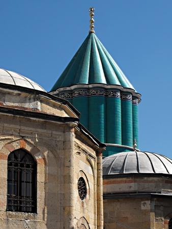 The Green Dome of the Mevlana Mausoleum in Konya, Turkey Stock Photo