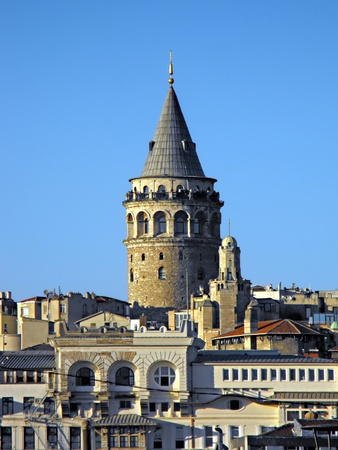The Galata Tower as seen in closeup from the Topkapi Palace across the Golden Horn, Istanbul, Turkey