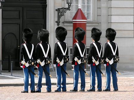 Changing of the Guard at Amalienborg Castle, Copenhagen, Denmark Stock Photo