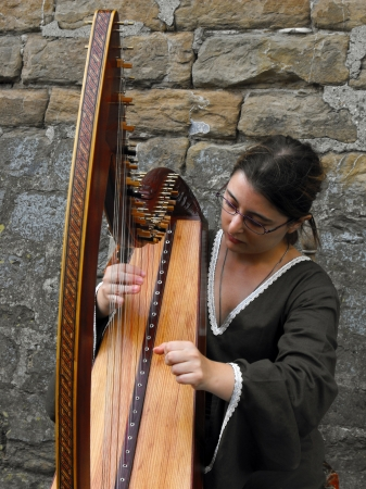 Harp Player at Renaissance Festival in Florence, Italy, September 2010