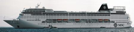 MSC Armonia cruie ship at anchor