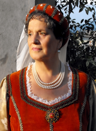 Middle-aged lady in Renaissance costume, Florence, Italy