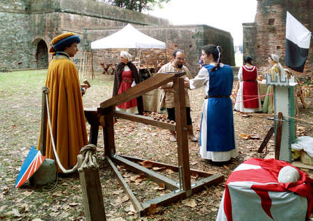 Medieval festival with crossbow tournament, Lucca, Italy