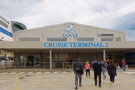 Cruise passengers outside the Dover Cruise Terminal, UK Editorial