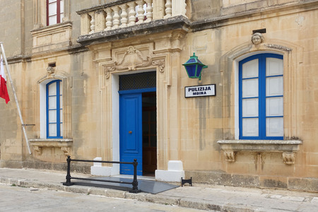 Maltese police station in the old city of Mdina, the ancient capital of Malta