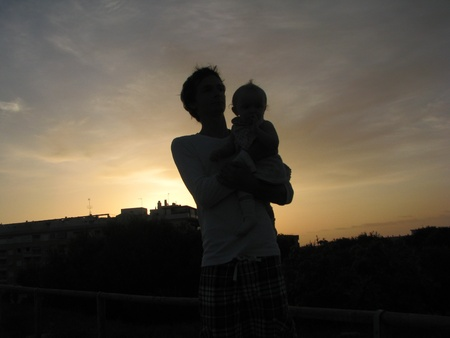 Father and daughter at sunrise photo