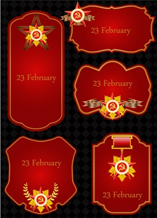 vector set of greeting cards with congratulations to 23 february Illustration