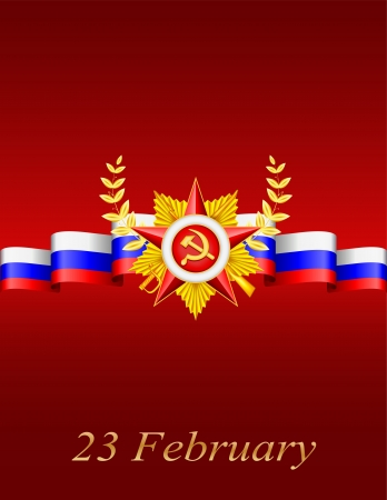 stalin: vector greeting card with congratulations to 23 february and Victory Day