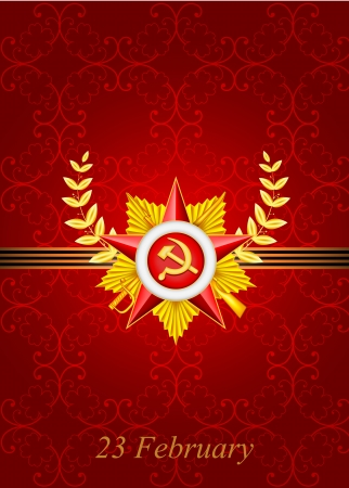 stalin: vector set of greeting card with congratulations to 23 february