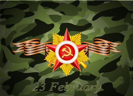 may 9: vector greeting card with congratulations to 23 february and Victory Day Illustration