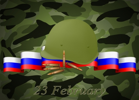 military helmet: vector greeting card with congratulations to 23 february and Victory Day Illustration