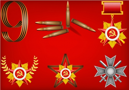 vector set of military objects, related to Victory Day  Illustration
