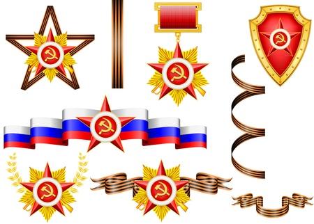 sward: insieme di vettore di oggetti militari, relative al 23 di febbraio e Giorno della Vittoria Vettoriali