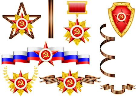 vector set of military objects, related to 23 of February and Victory Day  Vector